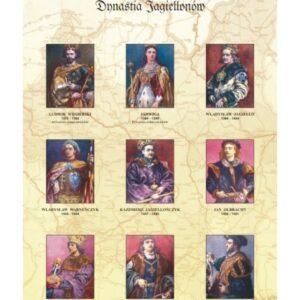 Dynastia Jagiellonów – poczet królów Polski – Tablica edukacyjna 70x100 cm
