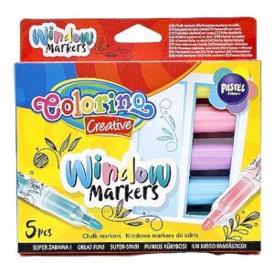 Markery kredowe do szkła 5 kolorów PASTELOWE - COLORINO