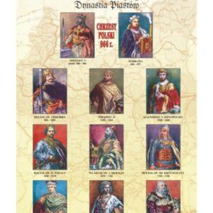 Dynastia Piastów I – poczet królów i książąt Polski – Tablica edukacyjna 70x100 cm