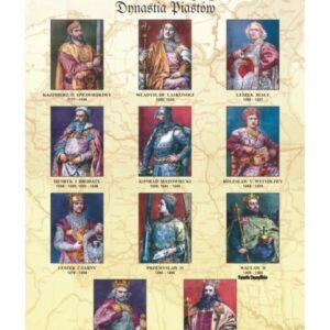 Dynastia Piastów II – poczet królów i książąt Polski – Tablica edukacyjna 70x100 cm