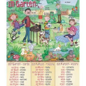 Familie im Garten - Tablica edukacyjna 70x100 cm
