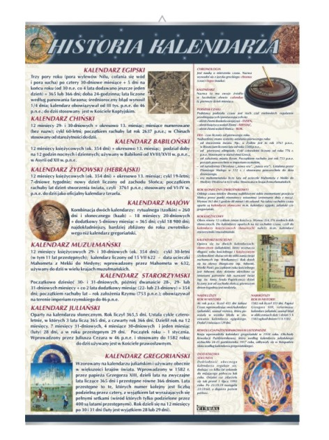 Historia kalendarza – Tablica edukacyjna 70x100 cm