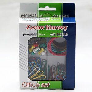 Zestaw biurowy - spinacze 28mm - pinezki - spinacze 50mm - gumki