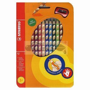 Kredki trójkątne dla dzieci leworęcznych 12 sztuk STABILO