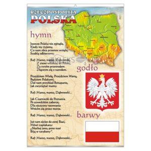 Polskie godło Barwy Hymn - Tablica edukacyjna 70x100 cm